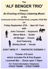 Alf Benger Trio - Music Event (Langwith Parish Council)